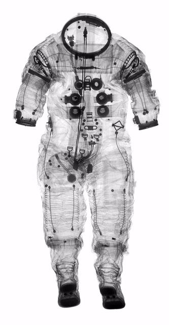 """An x-ray of Alan Shepard's Apollo 14 spacesuit allows curators and conservators to """"see"""" inside space clothing—a task that had previously been done by peering through the neck or the wrist with a flashlight."""