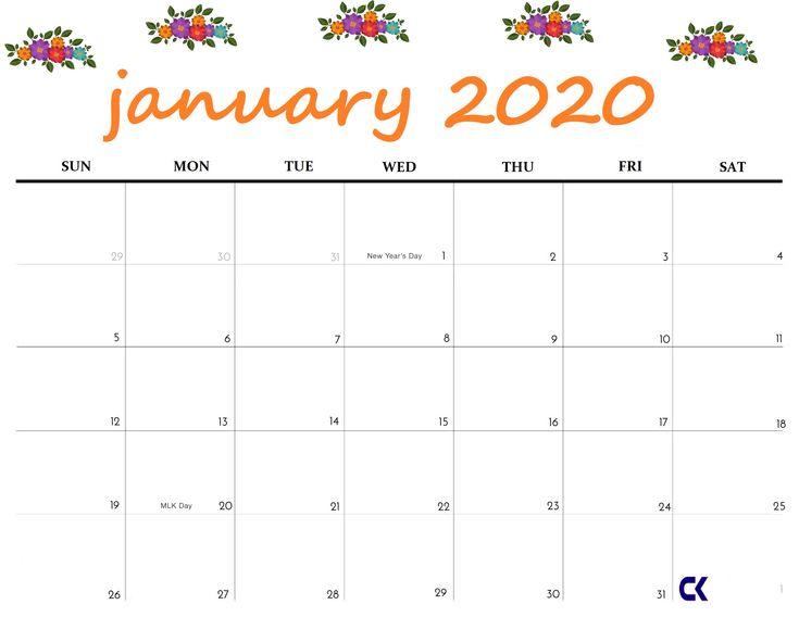 Cute January 2020 Calendar - Printable Editable Template ...