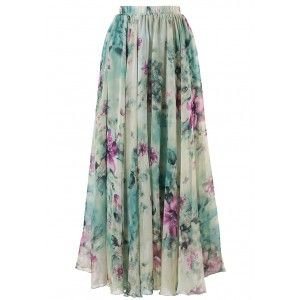 Marvel at the bold floral print of this gossamer maxi frock, you adore your reflection in this skirt as much as you love summer time! Swirl in it with a trendy off-shoulder top or cami, your summer vacation is in countdown! - Elastic waist - Lined - 100% Polyester - Machine wash gently / Hand wash Size(cm) Length Waist XS       100   58-64 S        100   64-70 M        100   70-76 L         110   76-82 XL        110   82-88 XXL   ...