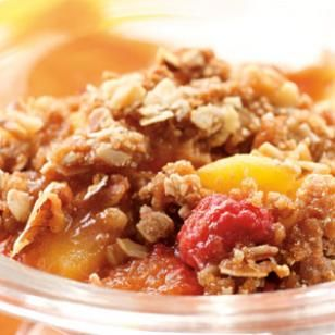Peach-Raspberry Crisp - fruit is covered and baked for 20 minutes before topping is added.