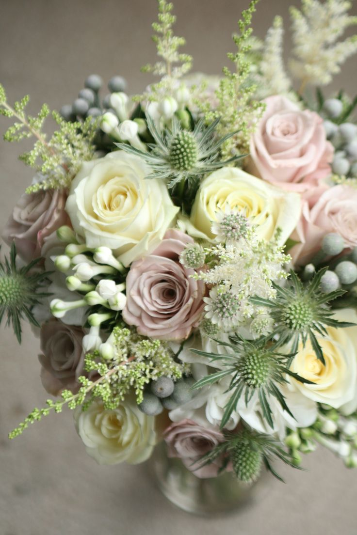 Vintage style bouquet of avalanche and menthe roses, astilbe, astrantia, bouvardia, thistles and foliage. Liberty Blooms
