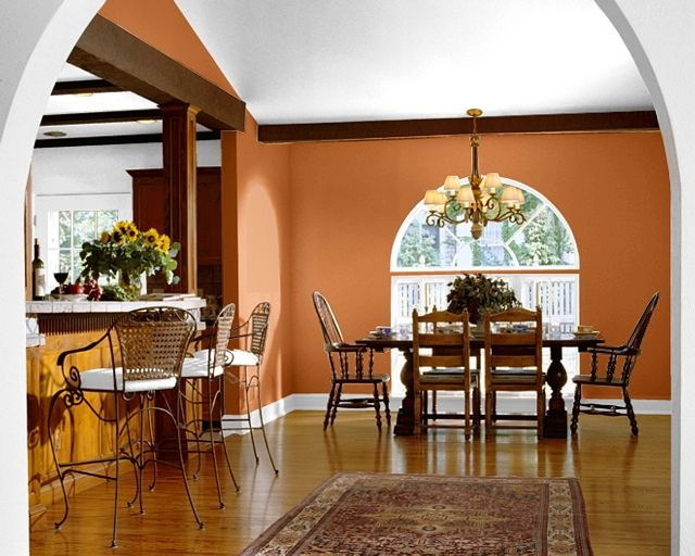 An Arched Accent Wall Creates Drama In This Neutral Dining Room Lively Red Tone Is Gladiola From Sherwin Williams Reds Are Popular For 2014