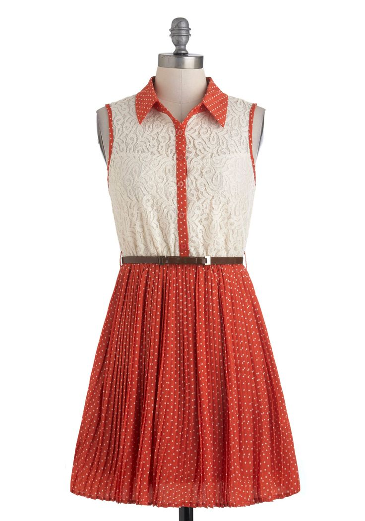 With Sugar on Top Dress - Orange, Tan / Cream, Polka Dots, Buttons, Lace, Shirt Dress, Sleeveless, Fall, Belted, Short, Casual