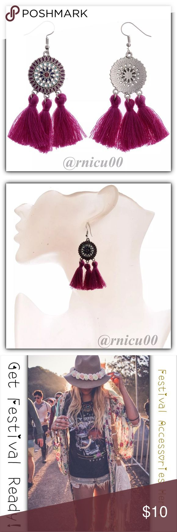 🆕Boho Festival Ready Purple Tassel Earrings! Adorable New Arrival Today, Fun Cotton String Tassel Earrings in 3 Different Colors! 📿Get Festival Ready & Get all your Boho Accessories Here!!📿 Feather, Tassel & Bead Earrings are a TOP TREND this Year! Perfect Accessory for your Festival Dress with Purple Tassels & Silver Flower Detailing-these are Amazing! 🕶 Hook Style for pierced ears, Not heavy👌  *NO TRADES *Prices are FIRM-Listed at Lowest Price Unless BUNDLED! *Sales are Final-Please…