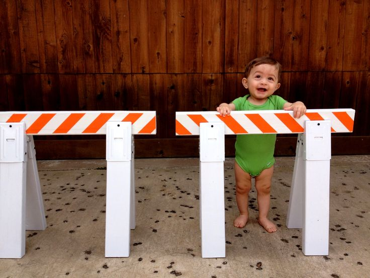 Mini construction barricade sawhorses:  Kids love construction toys!  Build some mini sawhorses for hours of fun in the driveway or backyard. Use regular sawhorse brackets and 2x4's; just make them smaller.