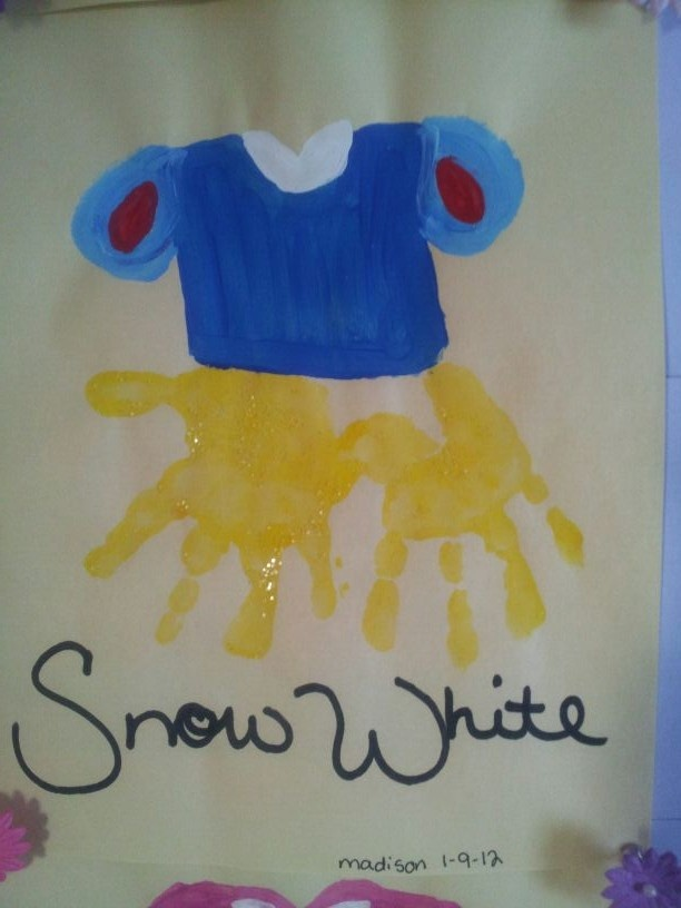 Snow White hand print art made 7/31/13 turned out cute