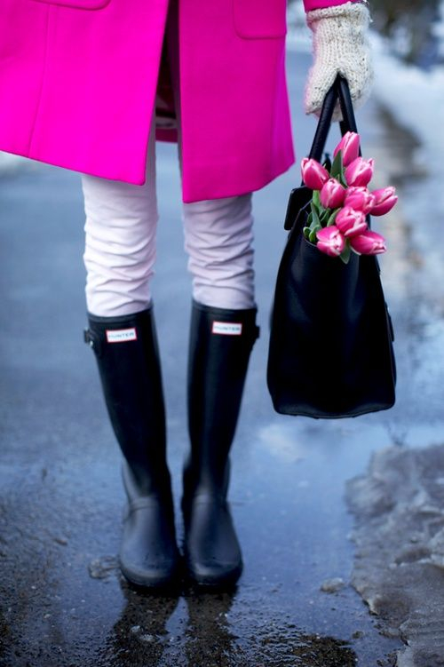 Shop this look for $173:  http://lookastic.com/women/looks/neon-pink-overcoat-and-white-jeans-and-black-shopper-handbag-and-black-rain-boots/1481  — Neon Pink Coat  — White Jeans  — Black Leather Tote Bag  — Black Rain Boots