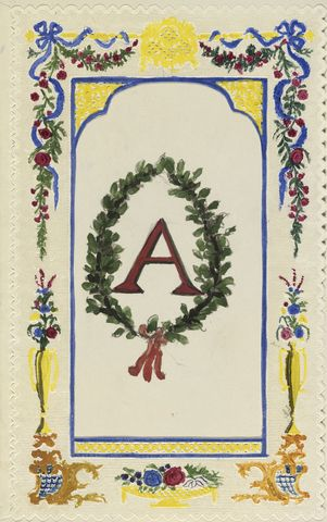 A decorated monogram  circa 1851circa 1852 by Empress Friedrich, consort of Friedrich III, Emperor of Germany & King of Prussia, 1st daughter of Queen Victoria (1840-1901