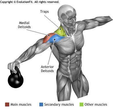 SHOULDERS -  STANDING 2 KETTLEBELL LATERAL RAISE