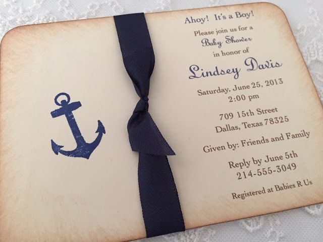 Nautical Anchor Invitations Baby Shower Ribbon Invite Ahoy!  It's a Boy! Set of 10 #NauticalBabyShower baby shower invite vintage style invite boy shower invite boy baby shower baby ribbon invite nautical invitation anchor invitation anchor invite nautical invite ahoy invitation navy baby shower anchor baby shower nautical baby shower 26.00 USD SeasonalDelightsBaby