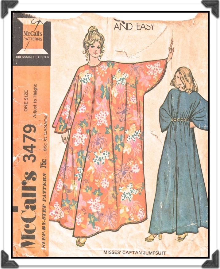 McCALLS Pattern 3479 - Misses Front Zip Caftan Jumpsuit Romper - One Size - Vintage 1970s. $12.50, via Etsy.