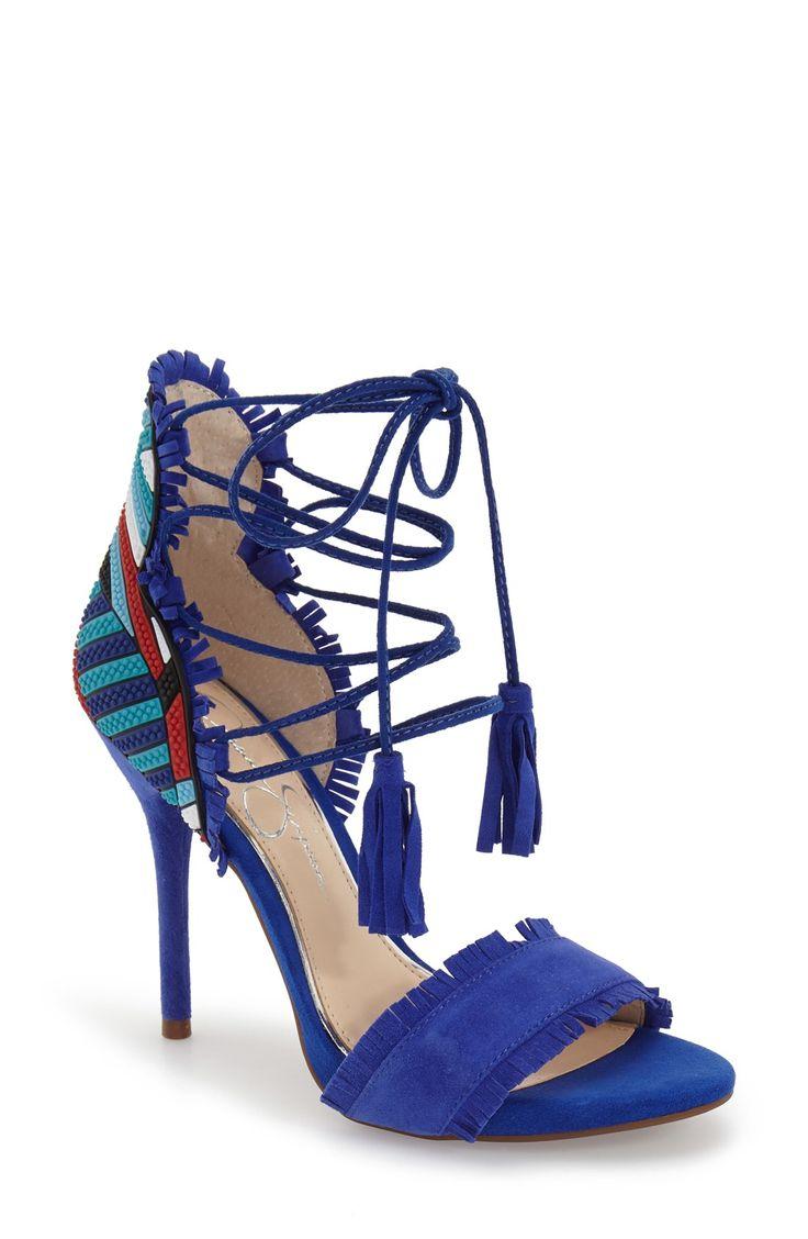 Jessica Simpson 'Basanti' Fringe Lace-Up Sandal (Women)