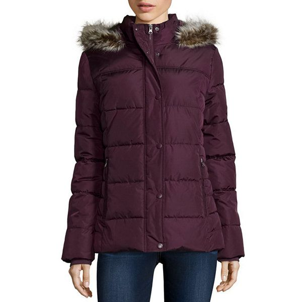 St. John's Bay® Faux-Fur Trim Puffer Coat - JCPenney