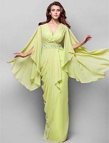 Sheath/Column V-neck Floor-length Chiffon Evening Dress - USD $ 159.99