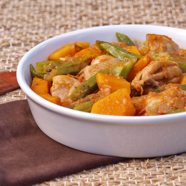 African stew made out of chicken, butternut, okra and chillies on palm oil