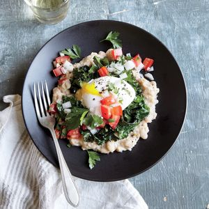 Peppered White Bean, Kale, and Egg Stack |