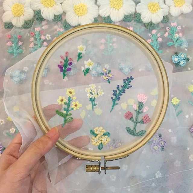 In process of making heart-made flower embroidery on wedding dress#weddingdress #embroidery