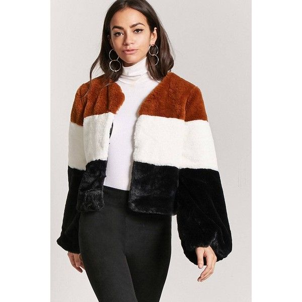 Forever21 Faux Fur Colorblock Jacket ($40) ❤ liked on Polyvore featuring outerwear, jackets, forever 21 jackets, color block jacket, colorblock jackets, fake fur jacket and forever 21