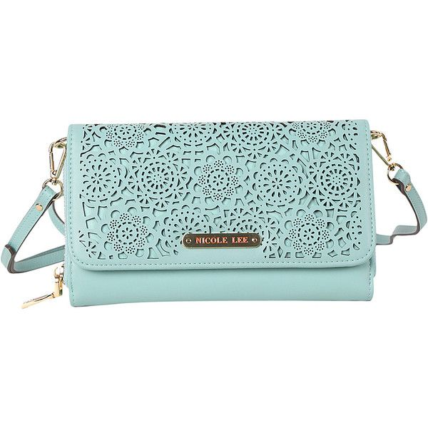 Nicole Lee Yvana Perforated Rhinestone Clutch - Blue - Crossbody Bags (210 DKK) ❤ liked on Polyvore featuring bags, handbags, clutches, blue, monogrammed purses, green crossbody purse, green handbags, crossbody purses and nicole lee handbags
