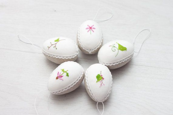 Easter eggs set of  5  linen with cross stitch picture by RedPin