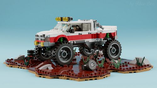 Digital Dodge Monster Truck Grabs Life By The Horns The Brothers Brick Monster Trucks Lego Cars Lego Truck