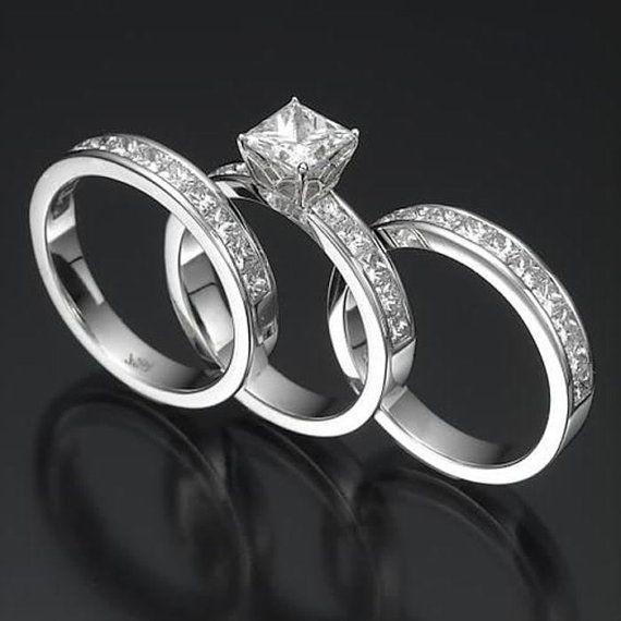 Engagement Ring Women Wedding Band Set White Gold 3.9 Carat D VS2 Princess Cut Diamond Ring Ladies Size 4 5 6 7 8 on Etsy, $8,603.85