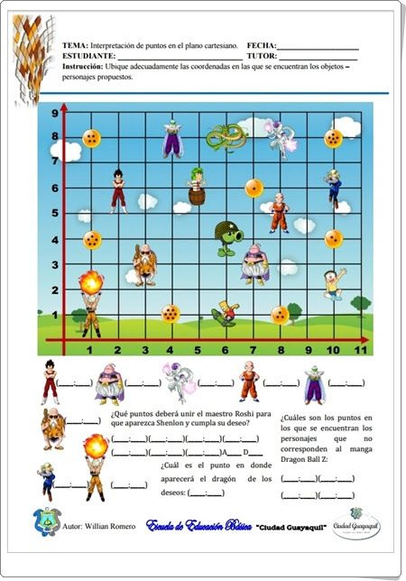 """""""Interpretación de puntos en el plano cartesiano"""" (Fichas de Matemáticas de 3º y 4º de Primaria)"""