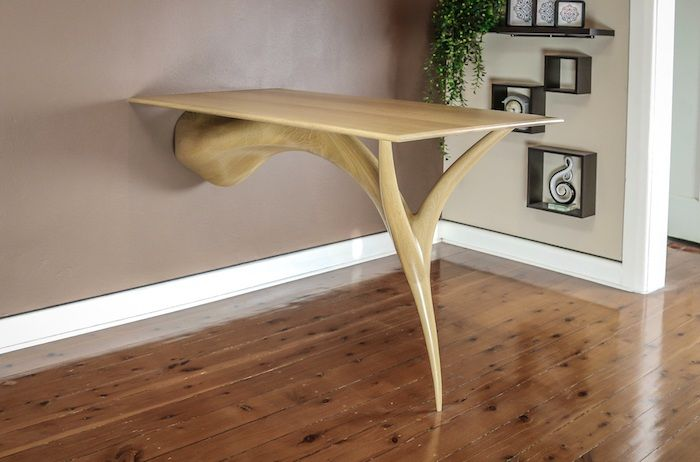 American Oak Sculpted Dining Table. Designed and made to suit the clients requirements.
