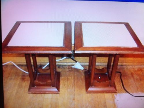 2 Marble Top Short End Tables
