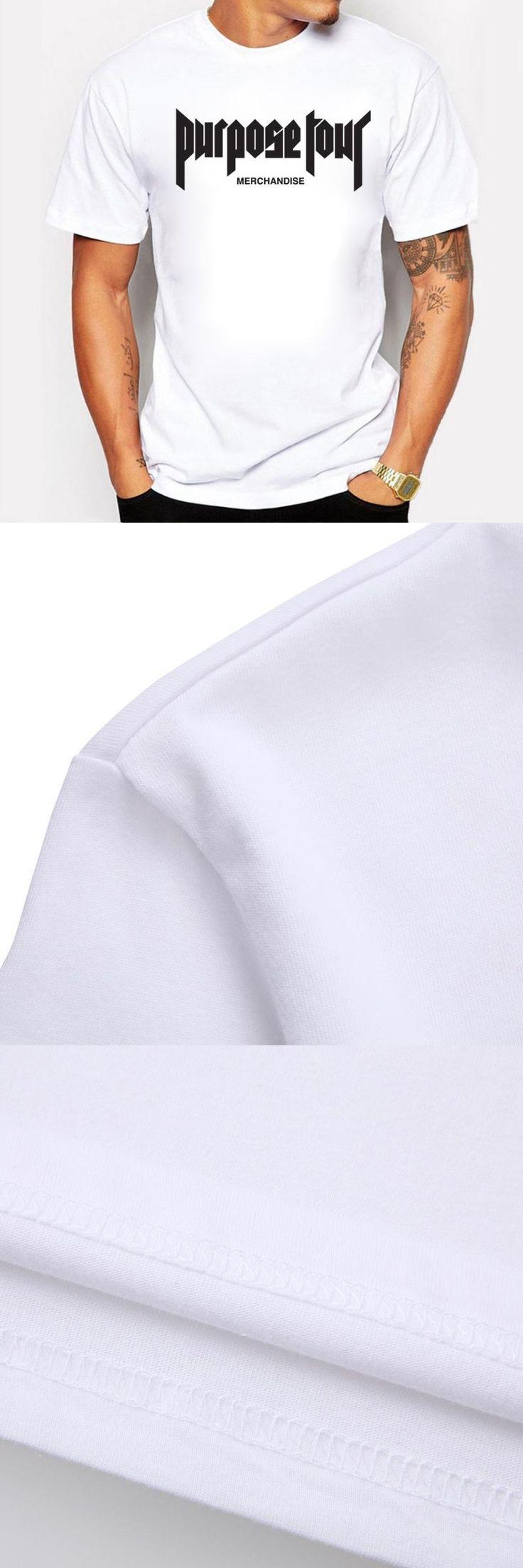 BLWHSA Popular Singner Justin Bieber Concert Purpose tour Merchandise Letters Print Men T-shirt Hip Hop Swag Cotton Men Tshirt