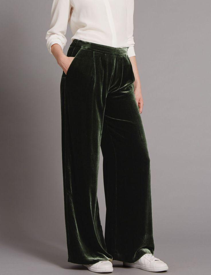 Wide Leg Velvet Trousers dark olive