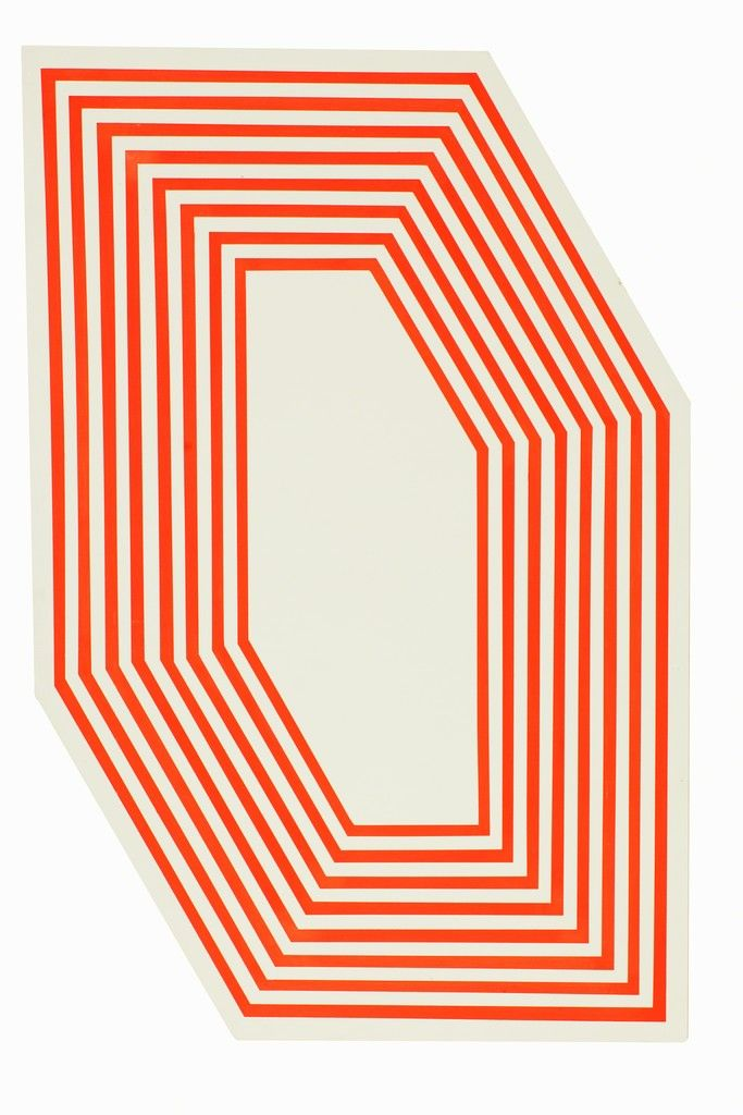 Untitled (Hexagon Florescent Orange Stripes) Barry McGee