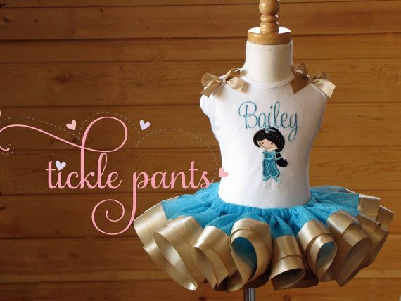 Princess JASMINE Tutu Outfit Turquoise and gold by TicklePants