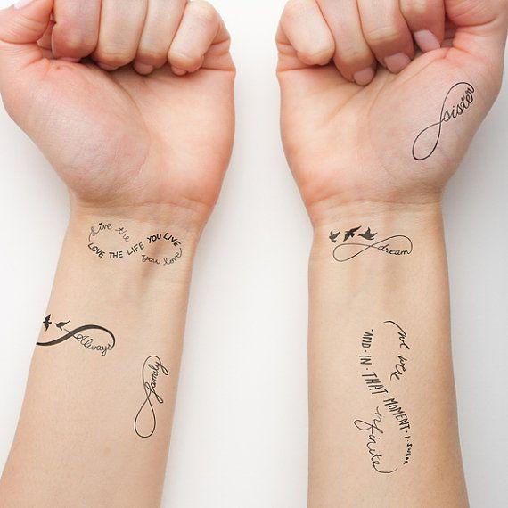 Etsy の Infinity Symbol Set Temporary Tattoo Set of 6 by Tattify