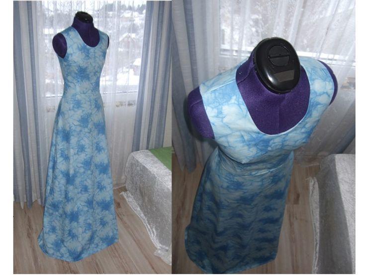 Blue Flowers Mix White Maxi Dress