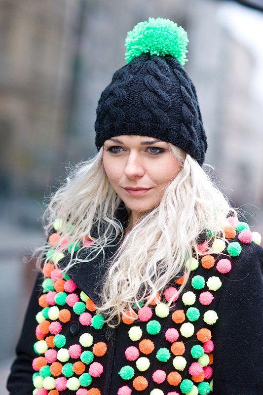 handmade black knit hat with a green pompom, pom pom, pompon by bimabejbe on Etsy, $42.47