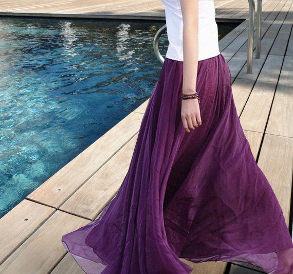 Largo Maxi falda púrpura falda gasa falda Maxi por FabFabricsForU