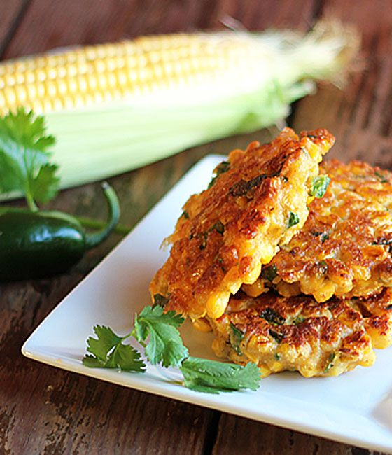 Jalapeno Corn Fritters. Recipe here http://theblondcook.com/2013/08/jalapeno-corn-fritters/