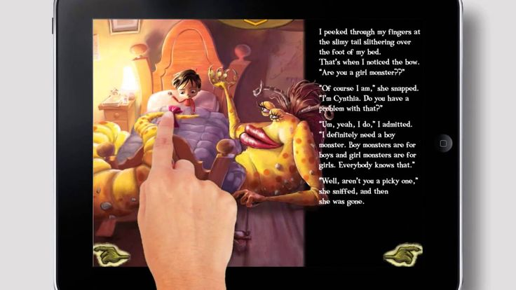 I Need My Monster- Interactive Children's Book App,  Non story influencing interactive elements add to the direction of the story as it is read to the user. Good use of triggered animation