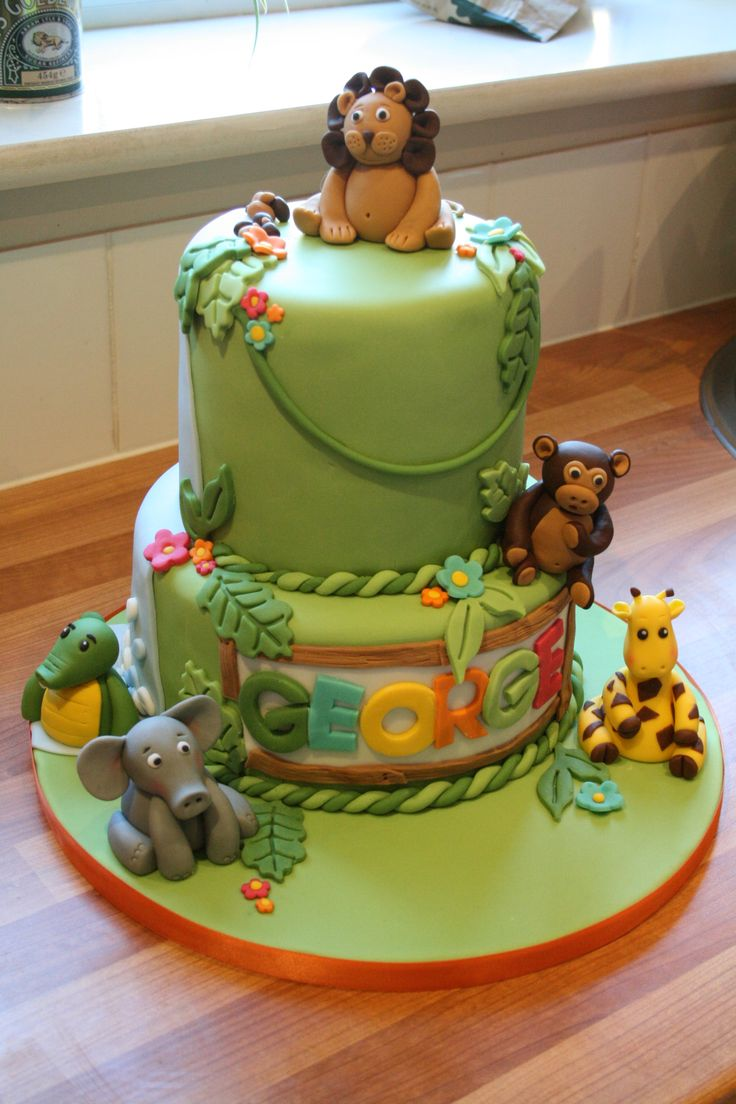 Jungle Themed 1st Birthday Cake Ethan S 1st Birthday