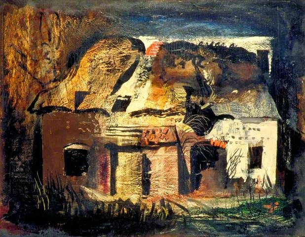 ✽   john piper -  'the cottage by frith wood, hampshire'  1941  -  bbc my paintings