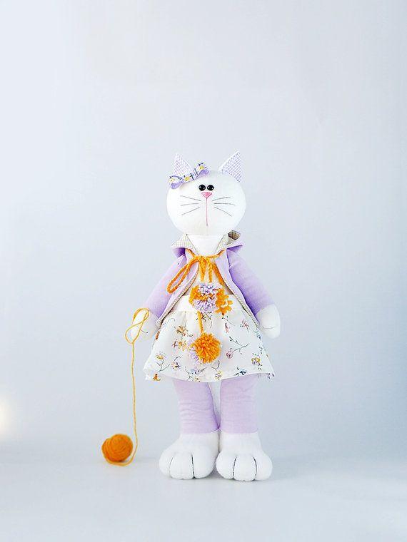 Plush stuffed cat soft toy Big toy gift large by ZuzuHappyToys