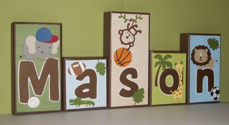 Personalized Wood Blocks -  Letters - Monkeys-Sports. , via Etsy.