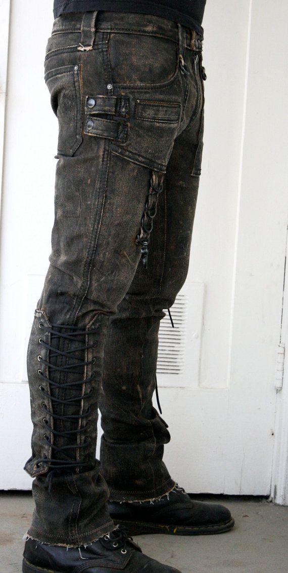 These look stunning, gotta grab myself a pair ASAP (Corded denim pant by BoneBlack on Etsy)