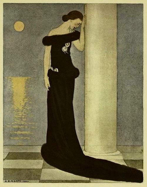 La Belle affligée (Robe de Soir de Paul Poiret), From Gazette du bon genre, 1922, (André-Edouard Marty)