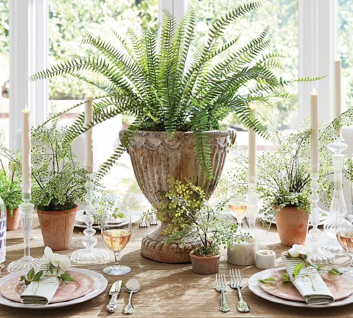 Faux Potted Mini Southern Maiden Hair Fern Houseplant In