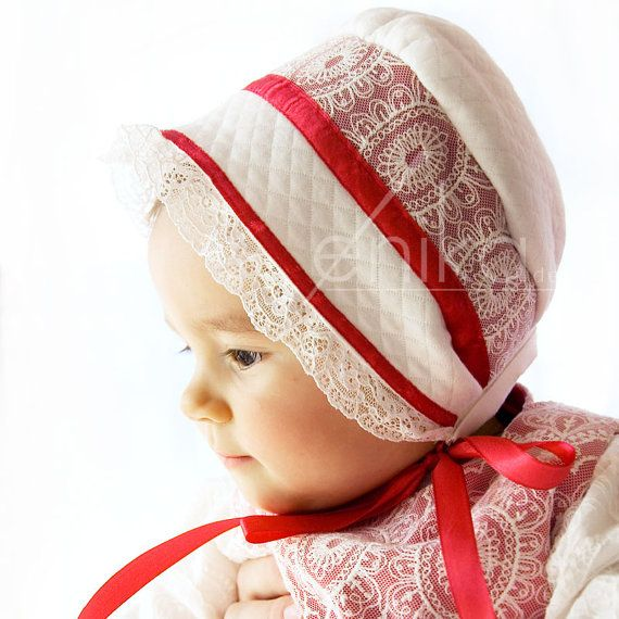 christmas baby bonnet ivory and raspberry red by MonikaVenika