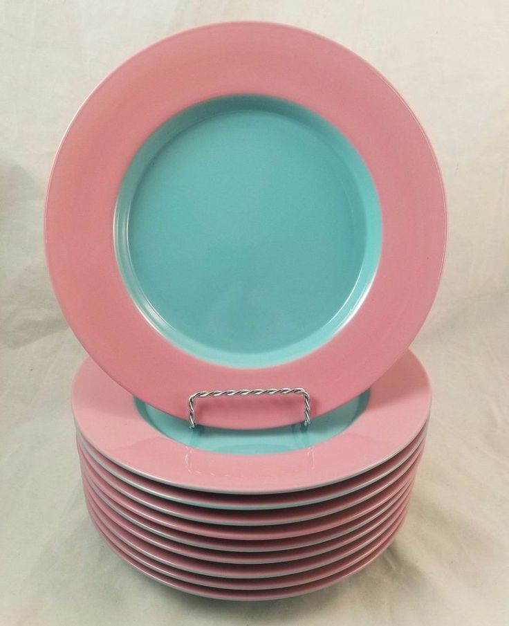 "Vtg LINDT STYMEIST COLORWAYS Pink Turquoise 9"" Salad Plate - Individual Plates #LindtStymeist"