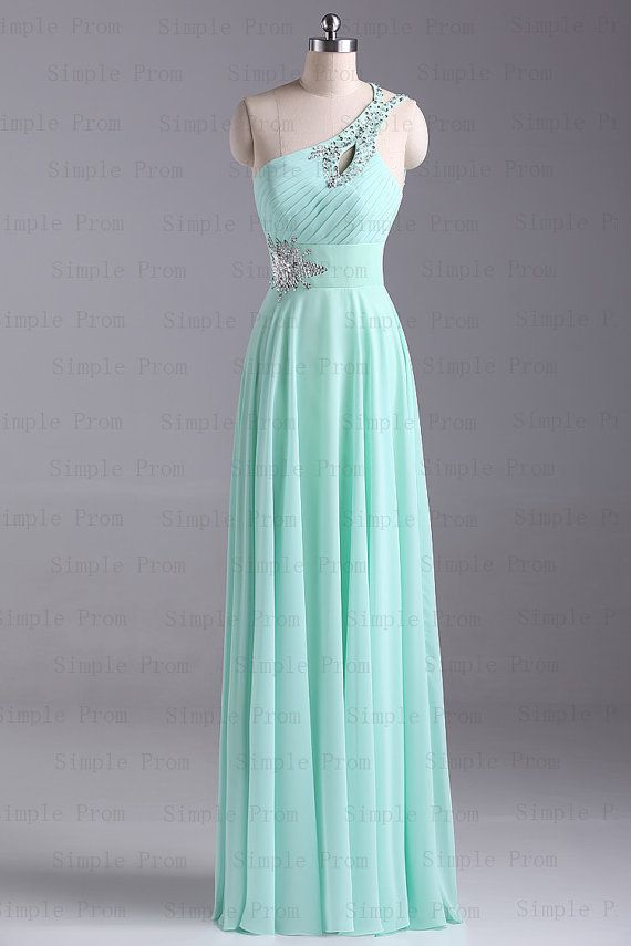 One-Shouldered Mint Prom Dress
