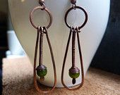 Dragonfly Wings - Handcrafted Copper Earrings With Olive Jade Stones
